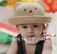 Free shipping Cute Little Bear Cap Baby Boys & Girls Caps children Summer Cap kids bucket hats summer 4 colors BBC001