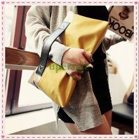 ELEGANT WOMEN FAUX LEATHERe COLOR BLOCK FOLDER CLUTCH BAG HANDBAG