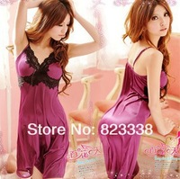 2015 New Free Shipping Sexy Lingerie Women Nightdress Lace Fine Aglet Nightgown  Long Dress Baby Dolls sleepsuit