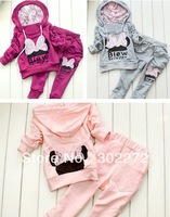 New style girl sport wear Baby Clothing Set girls sport suit Fashion two-piece Baby Garment Butterfly Sets ,(1sets/lot