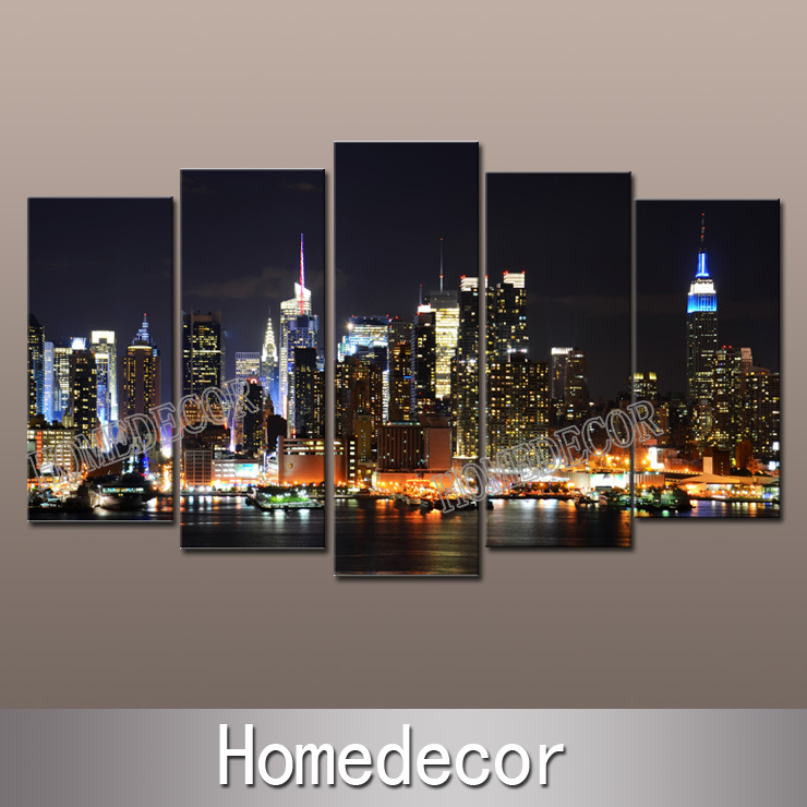 5pcs/set large USA New York City Buildings at Night art canvas picture printing modern wall canvas painting Home Decoration(China (Mainland))