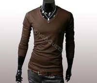 New Slim Fit Cotton Stylish V-Neck Long Sleeve Casual Men's T-Shirt Tops Black. White, Light Gray. Coffee dropshipping 3466