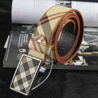 2015 Fashion brand plaid belt male pu leather belt men