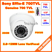 "1/3"" SONY Effio-E CCD, 700TV lines, 36 IR LEDs, VariFocal2.8~12mm Lens Zoom Dome CCTV Camera with OSD menu. Free shipping(China (Mainland))"