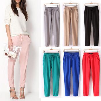 Hot Sale New 2014 Brand Casual Women Pants Solid Color Drawstring Elastic Waist Comfy Full Length Chiffon Harem Pants W4156B