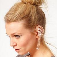 #155 Free Shipping Fashion Full Rhinestone Tassels Ear Cuff, Hang On Earrings No Pierced 12PCS/LOT