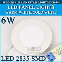Wholesale 40PCS High brightness LED Panel Lights ceiling lighting 6W 2835SMD Cold white/warm white AC85-265v