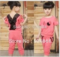 2014 Girls Clothing Sets Baby Kids Lace bow casual Suit Children top+Harem Pants 2pcs set Garment t019