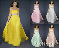 ZJ0001 2013 new fashion arrival yellow pink champagne light green white chiffon formal gown evening dresses
