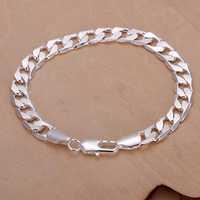 2014 New Arrivel Free Shipping Silver plated Cuff Chain Charm 8M flat sideways Bracelet Jewelry Bracelet SMTH246