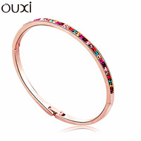 BLA054 Classic Guarding Needle Bangle Made With Top Austrian Crystal Thick White Gold Plated Free Shipping