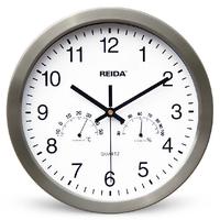 New Arrival 2014 Home Decoration Fashion Quartz 12Inch Modern Metal Wall Clock Hanging Clocks Temperature Humidity Drop Shipping