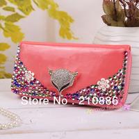 8 colours,bling rhinestone crystal flower fox, women's rhinestone purse, phone bag ,handbag ,high quality PU ,free shipping
