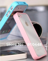 Free shipping Colorful Soft Silicone TPU border Transparent Clear See Through Plastic Case Cover Case for iPhone 4 4s