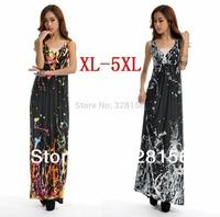 2014 Floral Printing Maxi/Long Summer Beach Casual Dress Plus Size XL-5XL Free Shipping