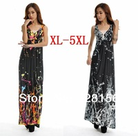 Hot Sale Women V-Neck Floral Printing Maxi/Long Summer Beach Bohemia Dress Plus Size XL-5XL Free Shipping