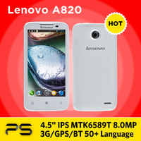 Original Freeshipping 1G/4G 8.0MP 960*540 Dual SIM Android 4.1 Quad Core Russian Lenovo A820 smartphone with  2000mAh Battery