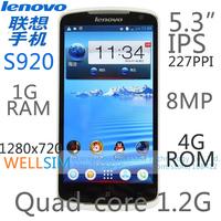 Original Lenovo S920 Multi language Mobile phone 5.3IPS 1280x720 MTK6589 Quadcore1.2G 1GRAM 4GROM  Android 4.2 8MP