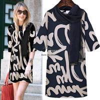 Summer Casual Dresses New Fashion 2014 Spring/summer Women Street Letter Novelty Chiffon Mini Dress With Scarve M-XXXL SV001261
