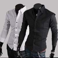 2014 New Men Casual Slim T-shirt Round Neck Long Sleeved Color Stitching Plus Size T-shirt 2 Colors XL,XXL b4