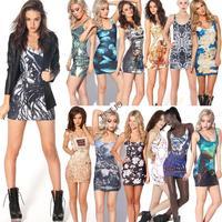 15 Colors! Free Shipping Women Digital Printing Dress Stretch Bodycon Sleeveless Slim Fit Mini Tank Dresses Sundress B6 SV004584