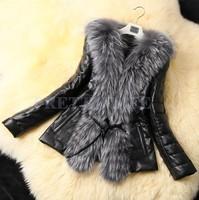 New Women ladies Warm Winter Imitate Fur Coat Overcoat Faux Fox Fur Leather Coat Jacket Outwear Black M L XL XXL XXXL b6 4746