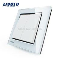 Free Shipping, Livolo New Style Wall Light Switch, White Crystal Glass Panel, Wall Light Push Button Switch VL-W2K2-12