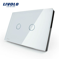 Free shipping, LIVOLO, AC110~250V, Ivory White Glass Panel, 2-gang, US Touch Control Light Switch VL-C302-81 with LED indicator