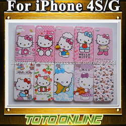 Best Selling Hello Kitty Cell Phone Case for iPhone 4 Pink Kitty Cover Cases for iPhone 4S with Individual Package(China (Mainland))
