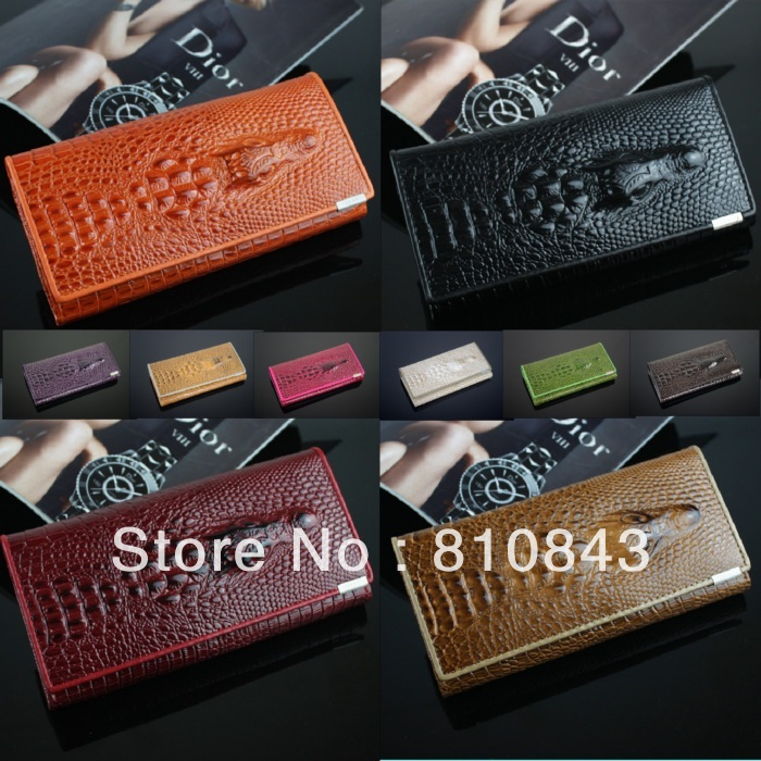 2014 New Genuine leather brand women wallets , Crocodile 3D purse wholesale fashion leather wallets , Free shipping Dropshipping(China (Mainland))