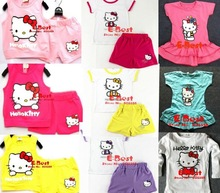[E-Best] Sales Promotion Hello Kitty 2pcs clothing sets Cotton T-shirt+short pants cute tracksuits Hello Kitty Dress/T-shirt mix(China (Mainland))
