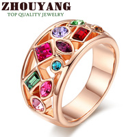 ZYR018 Luxurious Cocktail 18K Champagne Gold Plated Ring Jewelry Made with Genuine SWA ELEMENTS Austrian Crystal  Wholesale