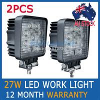 2PCS 27W FLOOD BEAM LED WORK OFFROADS LAMP LIGHT TRUCK BOAT 12V 24V 4WD 4x4 Driving Lights AU-STOCK