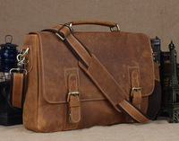 "Free shipping Briefcases Men Messenger Bag 15 "" Laptop Style Handbag Brown Cowhide Leather Vintage Style 8069"