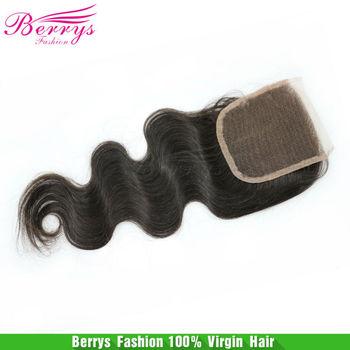 "Berrys Hair Products Lace Closure ,Virgin Hair Peruvian Body Wave(4""*4"") ,120% density, human hair weave"