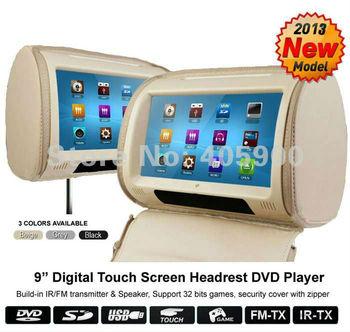 Universal Zipper Cover 9 inch HD Touch Screen car headrest DVD player with 32bit Games, IR Headphones