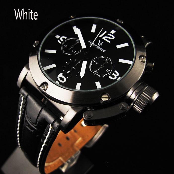 Vogue V6 White&Orange Number Black Leather Strap Watch Men Man Fashion Hour Marks Sports Quartz Wrist Watch VP314(China (Mainland))