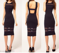 Hot Sale !!!  S M L XL Sexy Mesh Strips Long Bodycon Black Casual Dress for Lady
