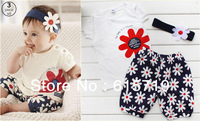 2014 3 pcs/set  Hot models  pink top+brown short pants + headband/ Baby wear/Baby girl suit/Free shipping