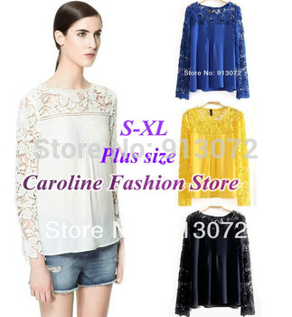 ST747 New Fashion Ladies' elegant sexy Lace sleeve chiffon blouse vintage shirt hollow out knitted shoulder tops 4 colors S-XL