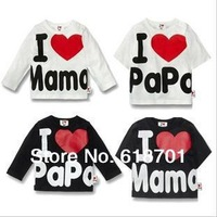 Top quality Retail I Love Papa Mama Baby T-shirt girls boys children Clothes for summer T shirt Free Shipping!