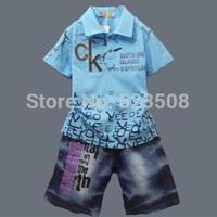 B01 Children's Child Clothing Child Summer Male 2014 Children 100% Cotton Denim Set   Blasting a Clearance Sale