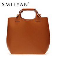 Smilyan 100% genuine leather women handbag brand tote bags purses large big shoulder shopping bags for women casual leather bags