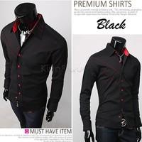 Wholesale 2014 New Fashion Men Casual Slim fit Long Sleeve Cotton Dress Shirts dropshipping Black/White Large Size M/L/XL 3276