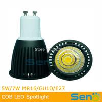 Epistar COB GU10 Spotlight 5W High CRI>80 Black color available 7W led light10pcs/lot CE/RoHS approval