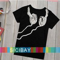2014 new children's  t shirt baby girls boys kids sport t-shirts summer clothes Headphone Printed tees,Free shipping  K0122