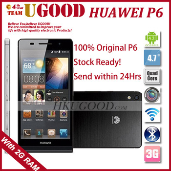 "Original Huawei Ascend P6 U06 K3V2E Quad Core Android 4.2 Mobile Cell Phone 2GB RAM 8GB ROM 4.7"" 1280*720 HD 8.0MP Camera 6.18mm"