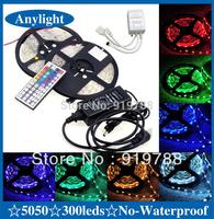 10M 5050 RGB led strip light  2*5M 30leds/M  SMD Strip Lighting +44 key ir remote controller + 5A Power christmas garland WLED04