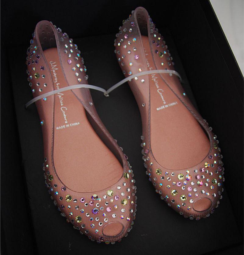 2014 damen Melissa swarovski kristall diamant flache sandaletten damen fischmaul gelee transparent schuhe offene spitze femal 2014