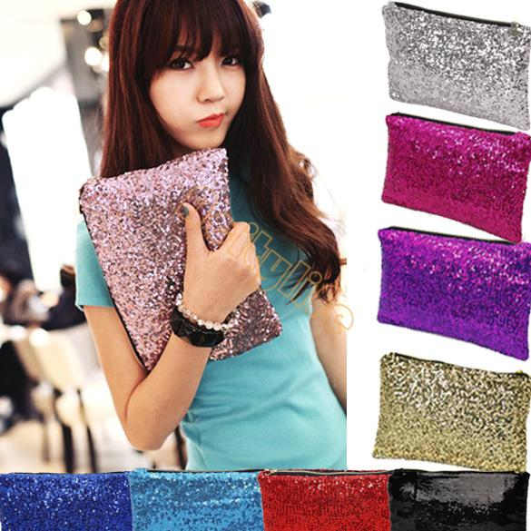 2014 New Fashion Style Sparkle Spangle clutch purse evening bags Ladies handbags totes 9 Colors #7 7248(China (Mainland))